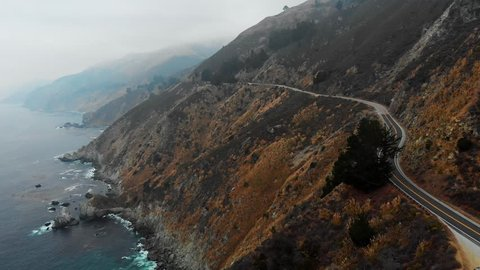 Aerial Fly Along Pacific Coast Highway on Right. aerial view following along the Pacific Coast Highway on the right