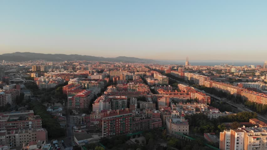 Aerial view of Barcelona at sunset | Shutterstock HD Video #1022782285