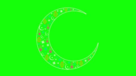 The inscription on a green background with the holiday. Moon writing on green background, Ramadan.