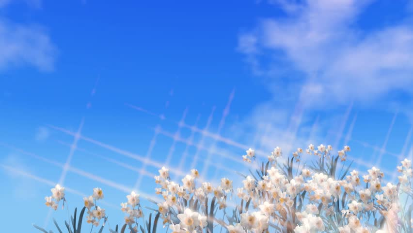 Easter message  in text with flowers and spinning Earth, blue sky with clouds and a green screen background for adding own text or video  | Shutterstock HD Video #1022812885