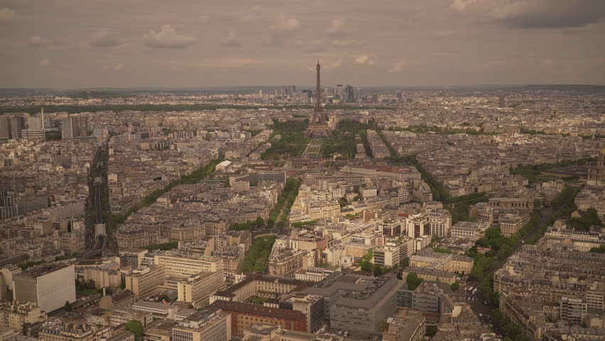 Large view of the city of Paris with the Eiffel Tower and the La Defense district behind, France | Shutterstock HD Video #1022819485