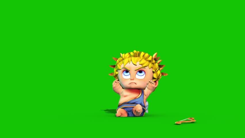 Cupid Happy Valentine's day Arrow Love Green Screen 3D Rendering Animation | Shutterstock HD Video #1022820385