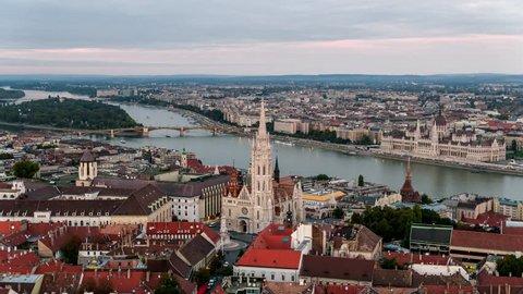 Establishing Aerial View of Budapest, Fisherman's Bastion, Hungarian Parliament, Hungary