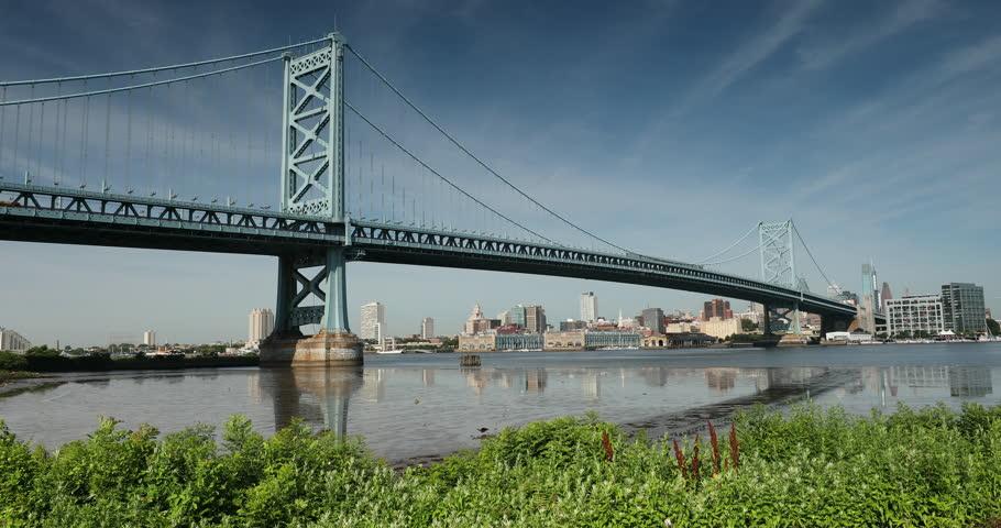 Benjamin Franklin Bridge over the Delaware River linking Camden, New Jersey to Philadelphia, Pennsylvania USA