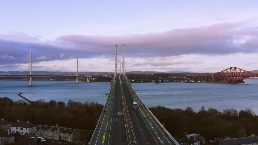 Three bridges, Forth railway Bridge, Forth Road Bridge and Queensferry Crossing, over Firth of Forth near Queensferry in Scotland have been build in three centuries: 19th, 20th and 21st.