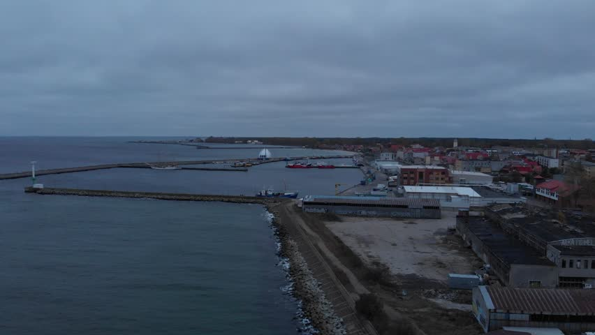 Wide aerial view of Hel port - small harbor at Hel Peninsula, Poland, Europe. | Shutterstock HD Video #1022844445