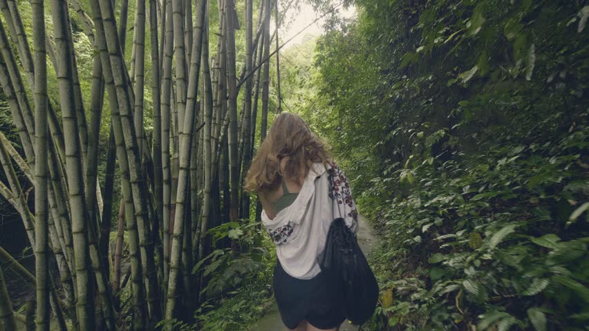 Tourist woman walking on path in tropical forest on green trees and plant background. Back view traveling girl in exotic rainforest among tropical trees and evergreen plants. | Shutterstock HD Video #1022854135