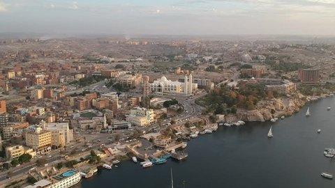 Drone footage of Aswan (Egypt) and Orthodox Church from Elephantine island