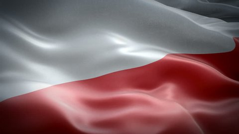 Poland Flag Wave Loop waving in wind. Realistic Polish Flag background. Poland Flag Looping Closeup 1080p Full HD 1920X1080 footage. Poland EU European country flags/ Other HD flags available