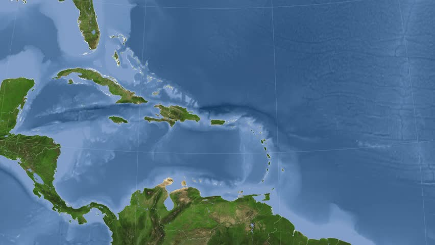 Puerto Rico on the satellite map outlined and glowed. Elements of this image furnished by NASA. | Shutterstock HD Video #10229357