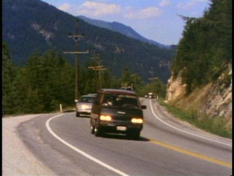 BRITISH COLUMBIA, CANADA, 1990, Trans Canada Highway, cars and trucks