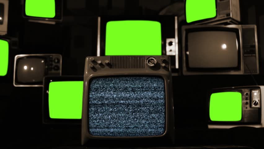 Malfunction Old Tvs with Green Screen. Sepia Tone.  | Shutterstock HD Video #1022959945