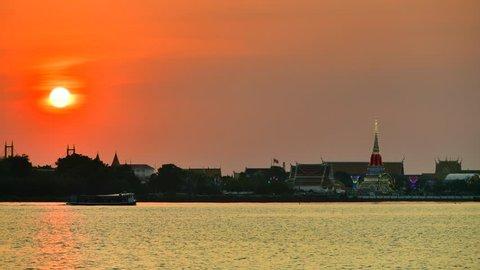 Beautiful sunset scene of Phra Samut Chedi and Chao Phraya River at Samut Prakan Province, Thailand