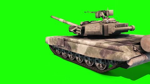 Tank Animated Tracks Military Rotates on Itself Green Screen 3D Rendering Animation