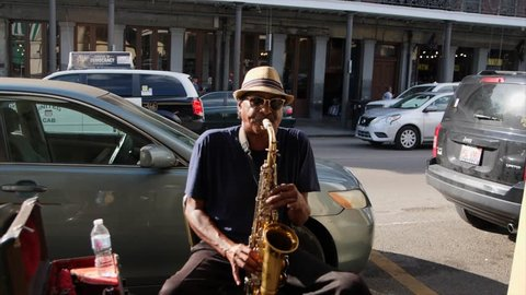 New Orleans, FL / United States - 09 02 2018: New Orleans Street Sax Player