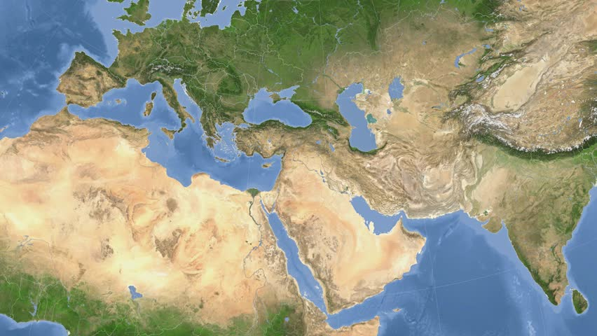 Syria Map And Satellite Image: Rotating Earth. Zoom In On Syria Outlined