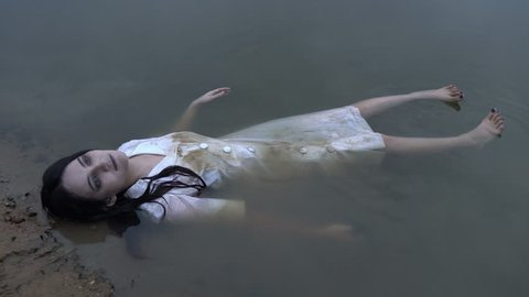 Portrait of asian woman make up ghost face at the swamp, Horror scene