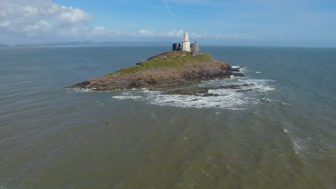 Aerial Shots of Dramatic Mumbles Lighthouse