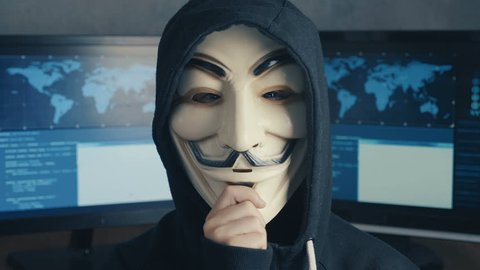 Cherkassy, Ukraine, January 21 2019: Wanted Child Hacker Hides Behind Anonymous Mask Guy Fawkes