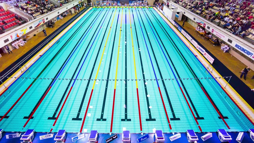 moscow russia april 19 2015 4k timelapse athletes swim 800m during