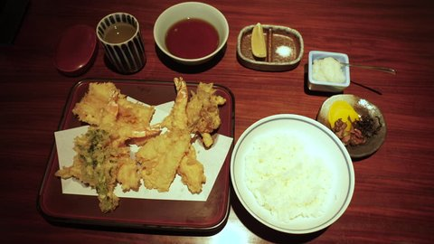 Japanese cuisine: Tempura set, deep fried fish and vegetable with rice, top view