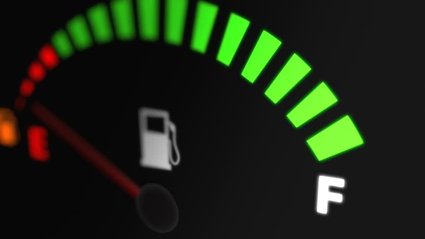 Fuel Gauge Full Animation on Car Dashboard.