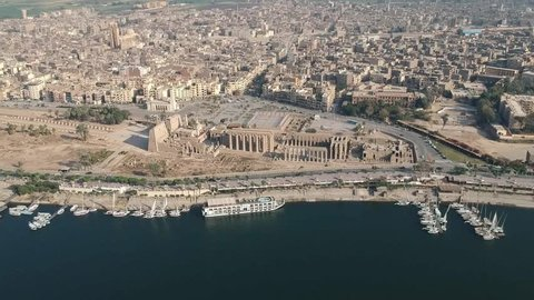 Drone footage of river Nile, Luxor temple and city Luxor in Egypt