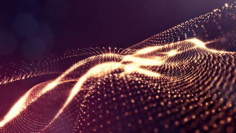 Composition with oscillating luminous particles that form surface. Abstract background of glowing particles with shining bokeh sparkles. Smooth animation looped. Red 8