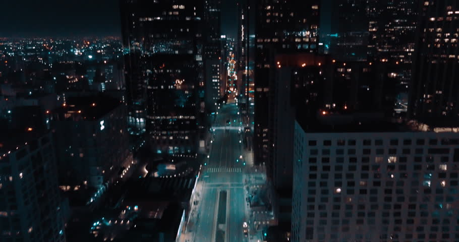 Cinematic Los Angeles Downtown Aerial at Night- Empty Street 4K | Shutterstock HD Video #1023299125
