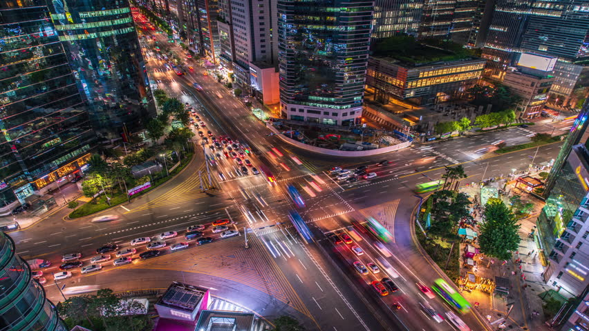 Night traffic of Seoul,City at South Korea.Time Lapse 4k | Shutterstock HD Video #1023317395