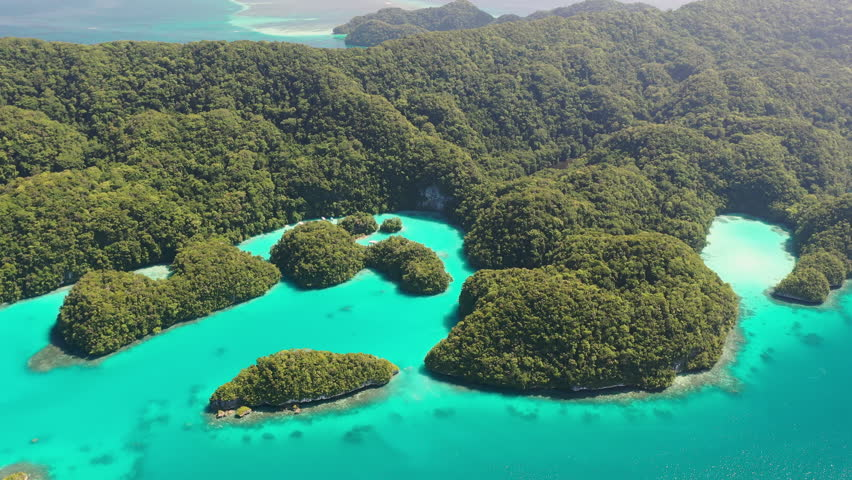 Aerial view of South Rock Islands (Chelbacheb), many lush green islets around Ngeruktabel island, seascape with colorful coral reefs and lagoons - landscape panorama of Micronesia from above, Palau