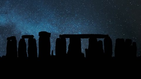 Stonehenge Prehistoric Monument by Night with Stars and Milky Way in Background, Wiltshire, England