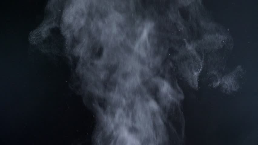 Close-up shot of great vapouring smoke with sprays flying on black background. #1023379075