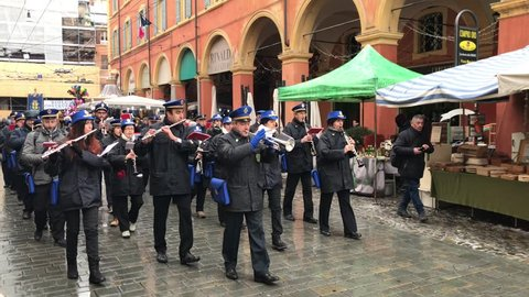 Modena, 31-01,2019. Exhibition of the Modena city band along the streets of Modena, Italy, on the occasion of the San Geminiano patrons day.