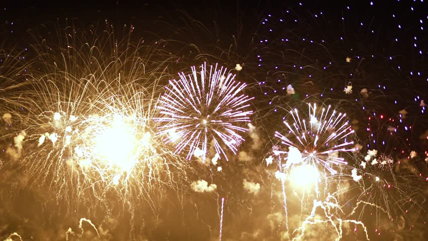 Colorful fireworks exploding in the night sky. Celebrations and events in bright colors. | Shutterstock HD Video #1023432805