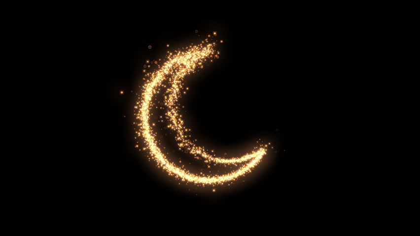 Shining sparkles creating a crescent that can be used as a nice abstract background with your logo or title. Abstract glowing crescent. | Shutterstock HD Video #1023437575