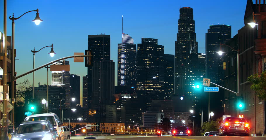Los Angeles downtown business financial district skyline, skyscrapers and traffic jam congestion at rush hour, California, 4K | Shutterstock HD Video #1023443905