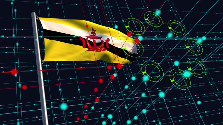 3D animation concept of a cyber attack with a Bruneian flag waving on a flagpole in the background; depicting data security issues between nations. | Shutterstock HD Video #1023449785