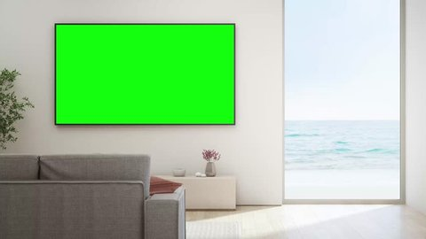 Sea view living room of luxury beach house with glass window and wooden floor. TV on white wall against sofa in vacation home or holiday villa. Hotel interior 3d illustration.