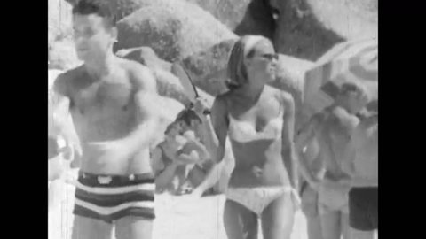 Cape Town, South Africa. About 1965. Citizens of white race on the beach