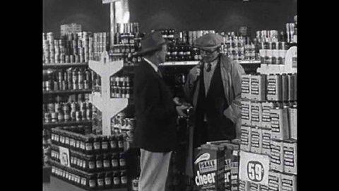CIRCA 1950s - Two men in a car dealership discuss socialism versus capitalism in the 1950s