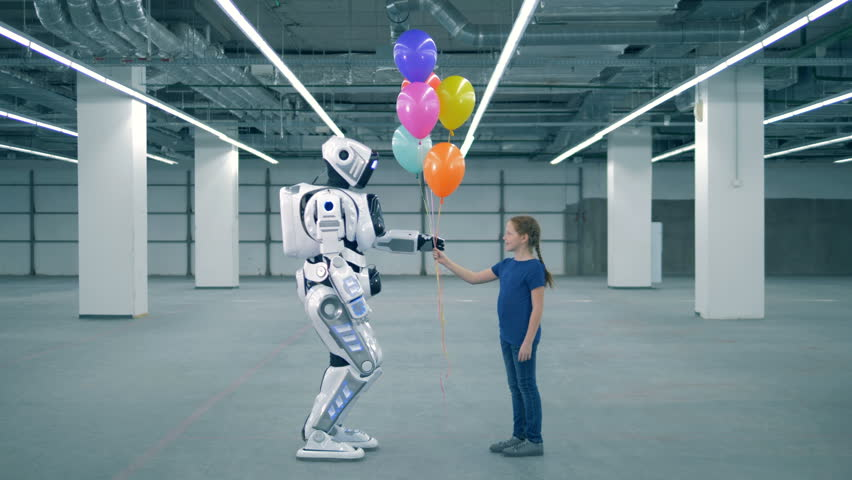 Concept of future. One girl presenting balloons to a droid, side view. | Shutterstock HD Video #1023534745
