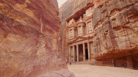 View of Petra Jordan Al Khazneh - the treasury, ancient city of Petra, Nabatean rock-cut temple of Hellenistic period of ancient Petra, originally known to Nabataeans as Raqmu - historical city