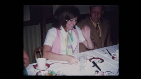 1971 Girl reads tribute letter to grandparents at formal dinner party