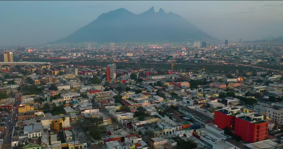 Aerial shot city with mountains Monterrey Mexico