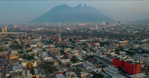 Aerial shot city with mountains Monterrey Mexico