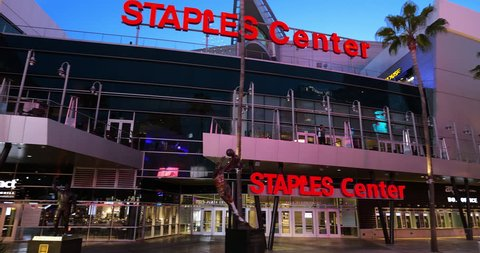 LOS ANGELES, CALIFORNIA, USA - DECEMBER 9, 2018: View of NBA Staples Center - home to the Los Angeles Lakers and Clippers in Los Angeles Downtown, California, 4K