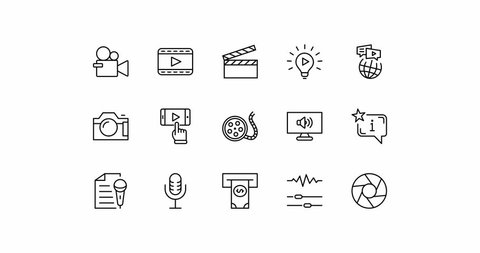 Set of Film Day Animation line icon. Stock 4K video design drawing isolated on a white background. Contains symbols Clapperboard, Camera, Video, Play, Film, Lens, Microphone, Media settings and more
