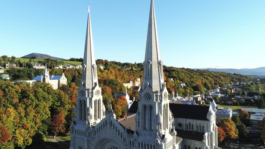 Aerial view of the Basilica of Sainte-Anne-de-Beaupre church with beautiful fall color at Quebec, Canada