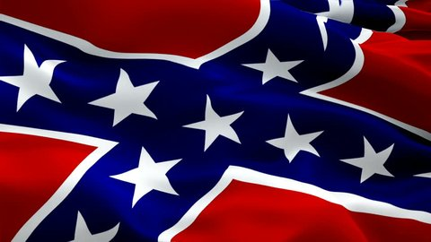 Rebel flag Closeup 1080p Full HD 1920X1080 footage video waving in wind. American National 3d Rebel flag waving. Sign of Confederate seamless loop animation. USA flag HD resolution Background 1080p